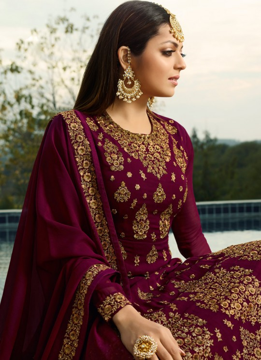 Magenta Color Embroidered Skirt Kameez For Ring Ceremony Nitya Vol 138 3805 By LT Fabrics SC/015364