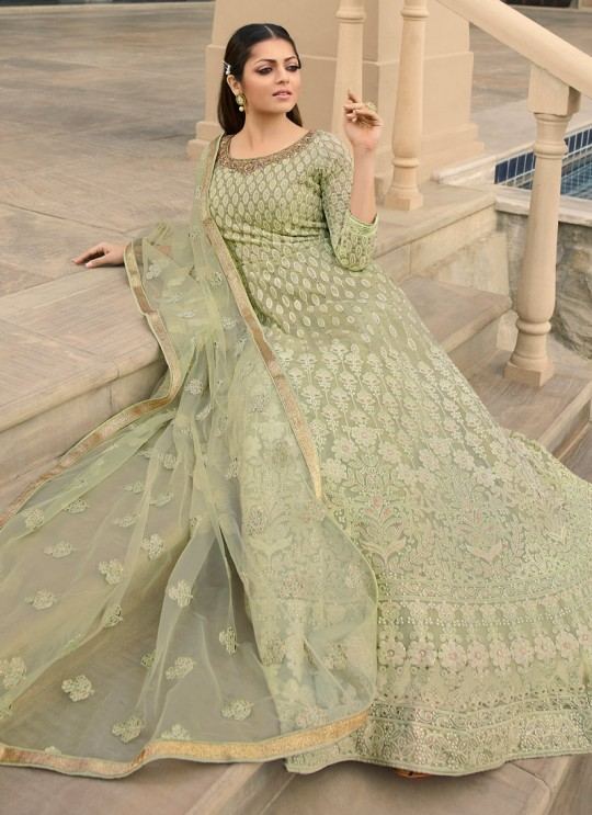 Green Color Embroidered Floor Length Anarkali For Ring Ceremony Nitya Vol 138 3806 By LT Fabrics SC/015365