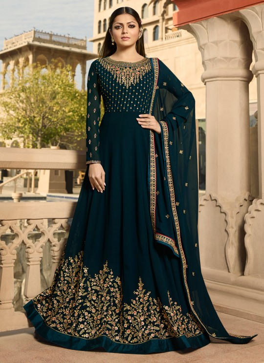 670ae473e8 Navy Blue Color Embroidered Floor Length Anarkali For Ring Ceremony Nitya  Vol 138 3807 By LT Fabrics SC/015366
