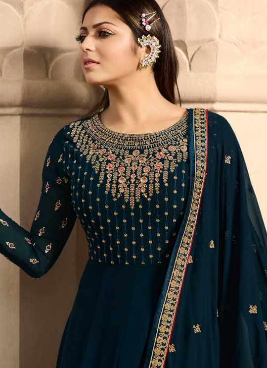 1c357929e0 Navy Blue Color Embroidered Floor Length Anarkali For Ring Ceremony Nitya  Vol 138 3807 By LT