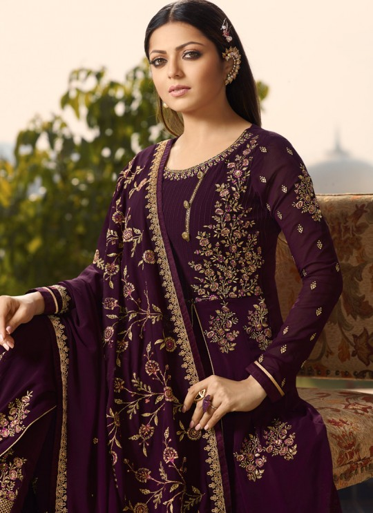 Purple Color Embroidered Floor Length Anarkali For Ring Ceremony Nitya Vol 138 3808 By LT Fabrics SC/015367