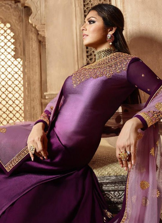 Purple Satin Georgette Ethnic Wear Skirt Kameez Nitya Vol 139 3904 Set By LT Fabrics SC/015234