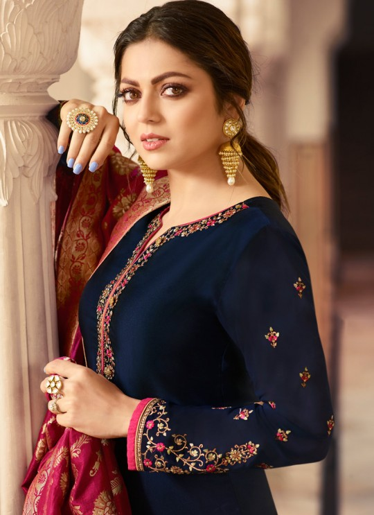 Satin Georgette Blue Contemporary Churidar Suits With Jacquard Dupatta Nitya Vol 140 4001 By LT Fabrics SC/015391