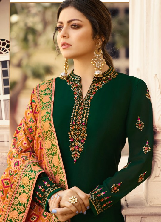 Satin Georgette Green Designer Churidar Suits With Jacquard Dupatta Nitya Vol 140 4002 By LT Fabrics SC/015391
