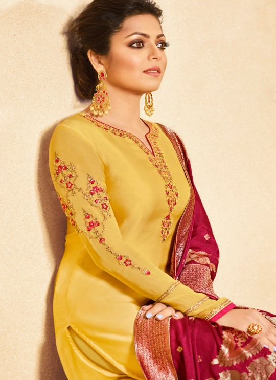 Satin Georgette Yellow Traditional Wear Churidar Suits With Jacquard Dupatta Nitya Vol 140 4004 By LT Fabrics SC/015391