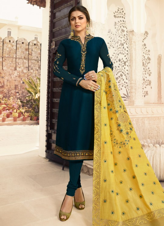 Satin Georgette Royal Blue Festival Wear Churidar Suits With Jacquard Dupatta Nitya Vol 140 4006 By LT Fabrics SC/015391