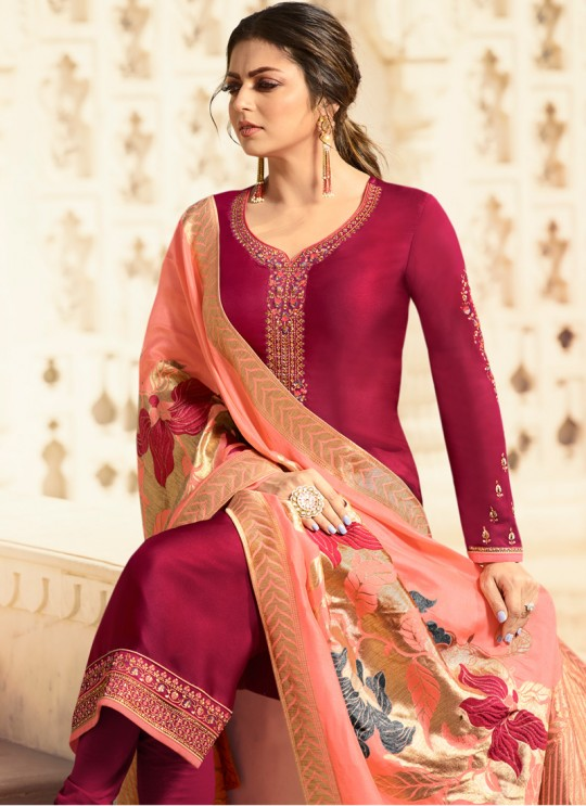 Satin Georgette Magenta Contemporary Churidar Suits With Jacquard Dupatta Nitya Vol 140 4007 By LT Fabrics SC/015391