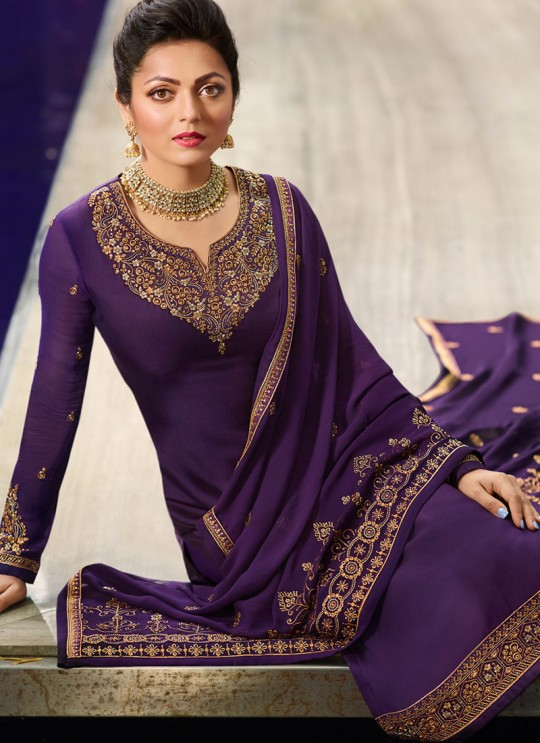 Designer Satin Georgette Straight Cut Suits In Purple Color Nitya Vol 141 4101 By LT Fabrics SC/015320