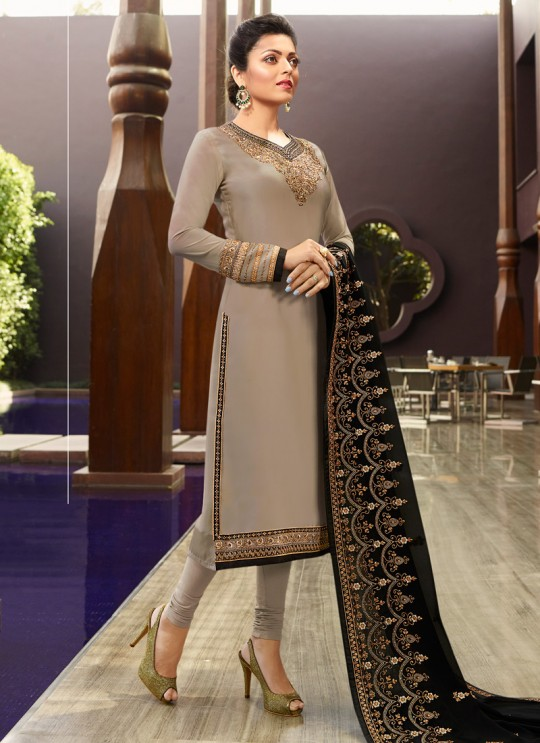 Party Wear Satin Georgette Straight Cut Suits In Grey Color Nitya Vol 141 4102 By LT Fabrics SC/015320