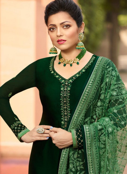 Ceremony Satin Georgette Straight Cut Suits In Green Color Nitya Vol 141 4103 By LT Fabrics SC/015320