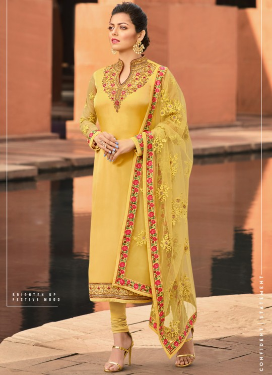 Festival Wear Satin Georgette Straight Cut Suits In Yellow Color Nitya Vol 141 4104 By LT Fabrics SC/015320