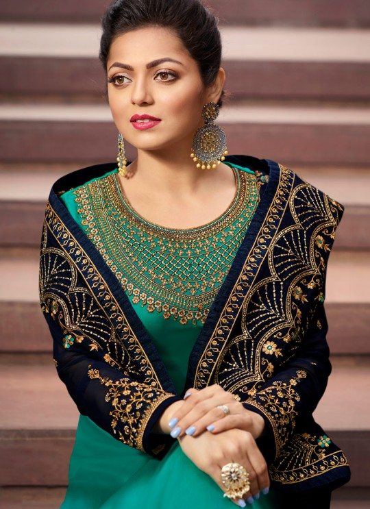 Contemporary Satin Georgette Straight Cut Suits In Teal Green Color Nitya Vol 141 4107 By LT Fabrics SC/015320