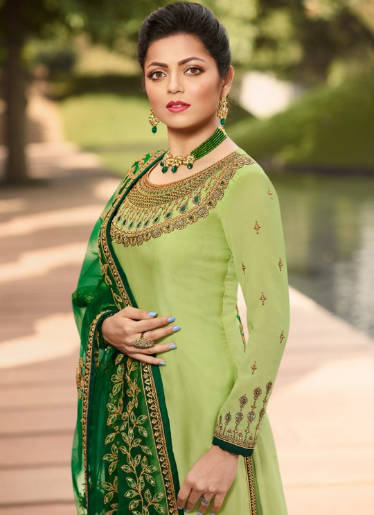 Contemporary Satin Georgette Straight Cut Suits In Green Color Nitya Vol 141 4109 By LT Fabrics SC/015320