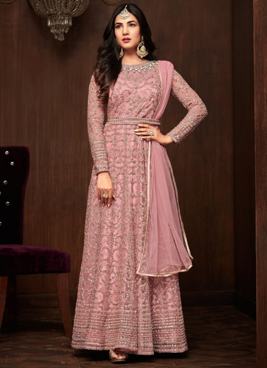 Pink Net Keira 1103 Floor Length Anarkali By Maisha SC/011438