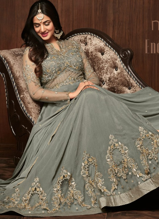 Grey Crape Keira 1106 Floor Length Anarkali By Maisha SC/011441