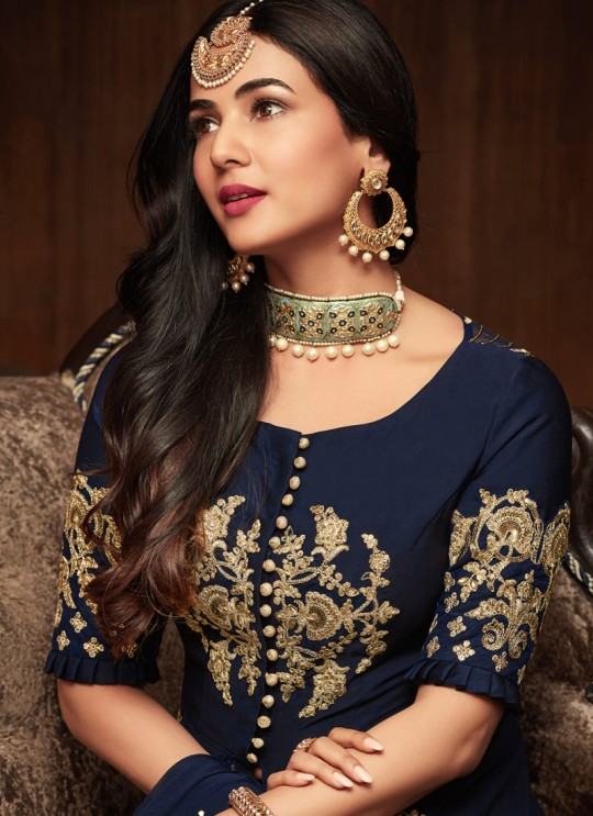 Blue Georgette Keira 1107 Floor Length Anarkali By Maisha SC/011442