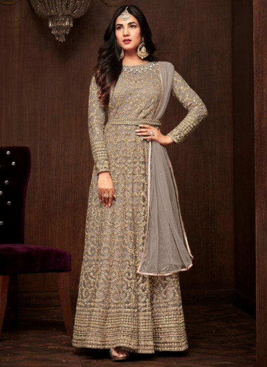 Grey Net Keira 1103C Color Floor Length Anarkali By Maisha SC/011865