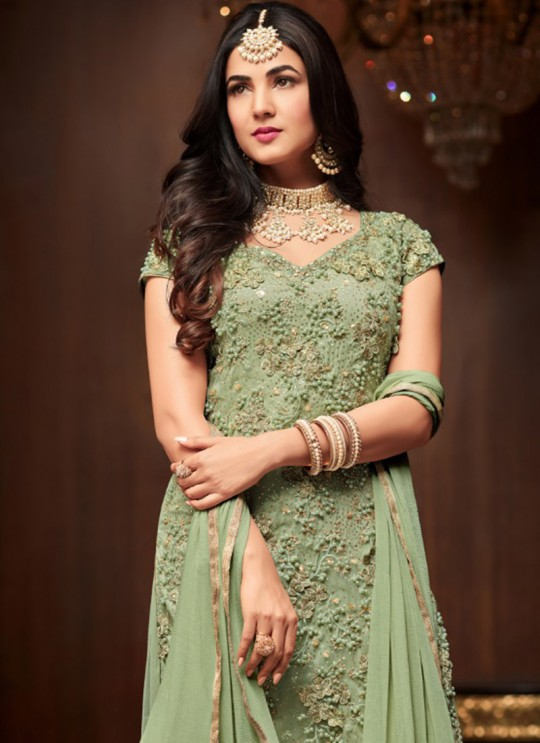 Green Net Keira 1105B Color Sharara Kameez By Maisha SC/011868