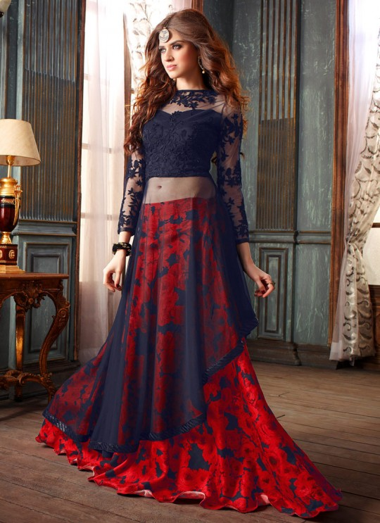 Blue Georgette Maskeen Addiction 19003 Lehenga Style Suit By Maisha SC/000313