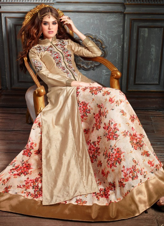 Gold Art Silk Maskeen Addiction 19007/3201 Lehenga Style Suit By Maisha SC/000318