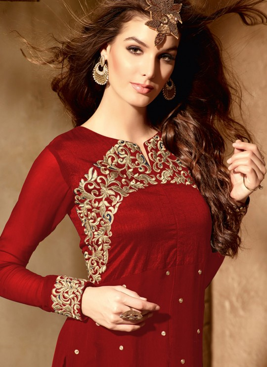 Red Georgette maskeen Addiction - 6 2005 Straight Cut Suit By Maisha SC/001380