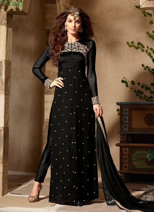 Black Georgette maskeen Addiction - 6 2006 Straight Cut Suit By Maisha SC/001381