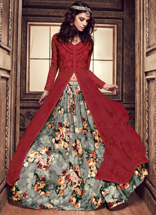 Red Georgette MASKEEN ADDICTION 7 3704 Colors 22002 Pakistani Suit By Maisha SC/011996