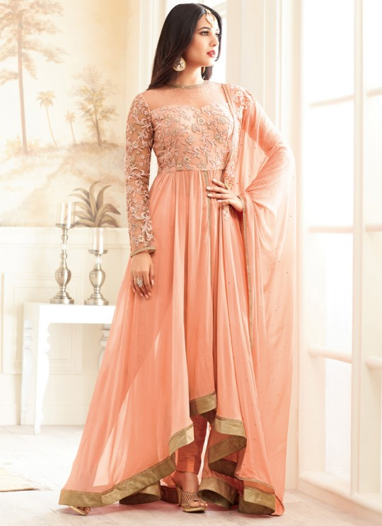 Peach Georgette MASKEEN ADDICTION-13 27001 Floor Length Anarkali By Maisha SC/009229