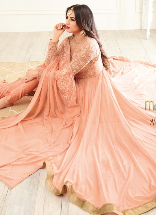 e977f31c10 Peach Georgette MASKEEN ADDICTION-13 27001 Floor Length Anarkali By Maisha  SC/009229