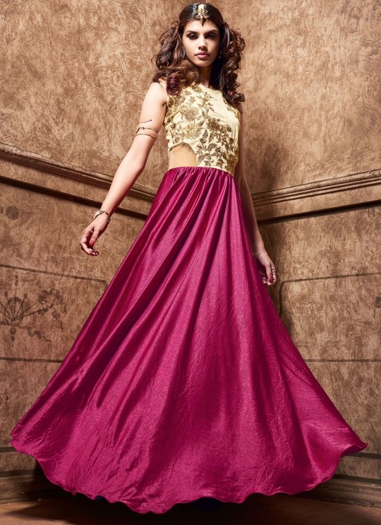 Pink, Cream Satin Maskeenji 3605 Gown Style Anarkali By Maisha SC/001012