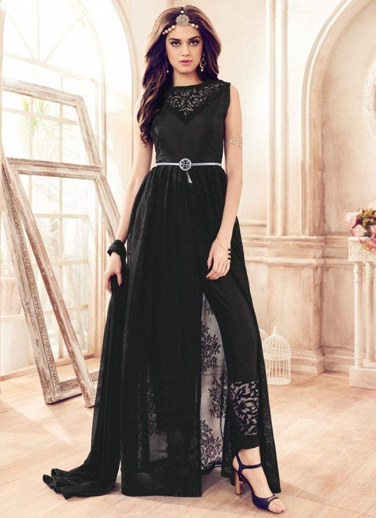 Black Net Jacquard Mannat 4110 Pakistani Suit By Maisha SC/003134