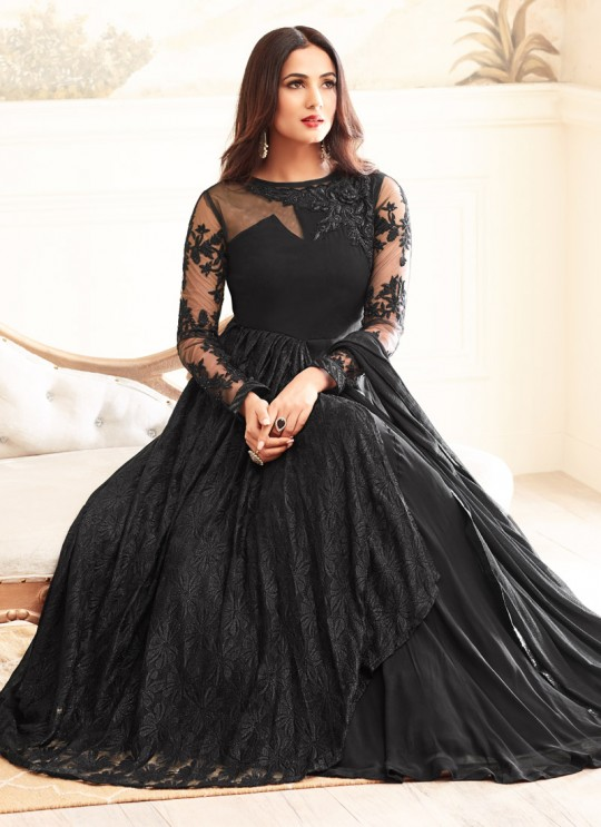 Black Georgette Sonal Chauhan 4606 Gown Style Anarkali By Maisha SC/0053330