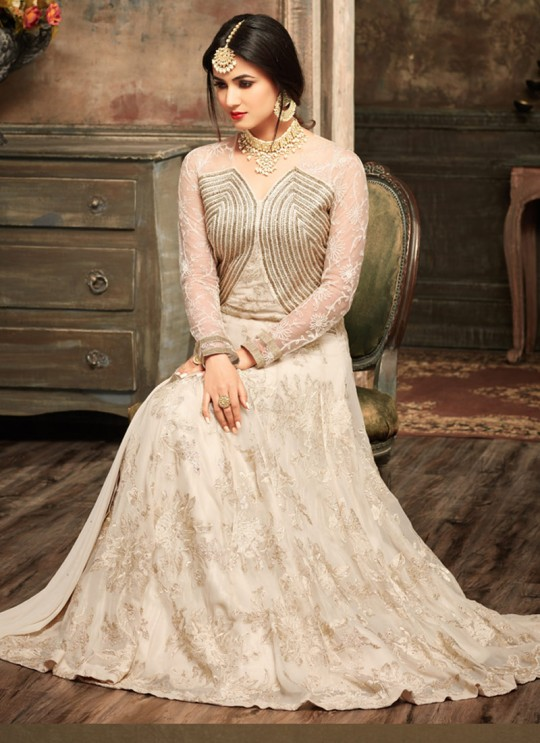 OffWhite Georgette Jawariya 5104 Floor Length Anarkali By Maisha SC/006122