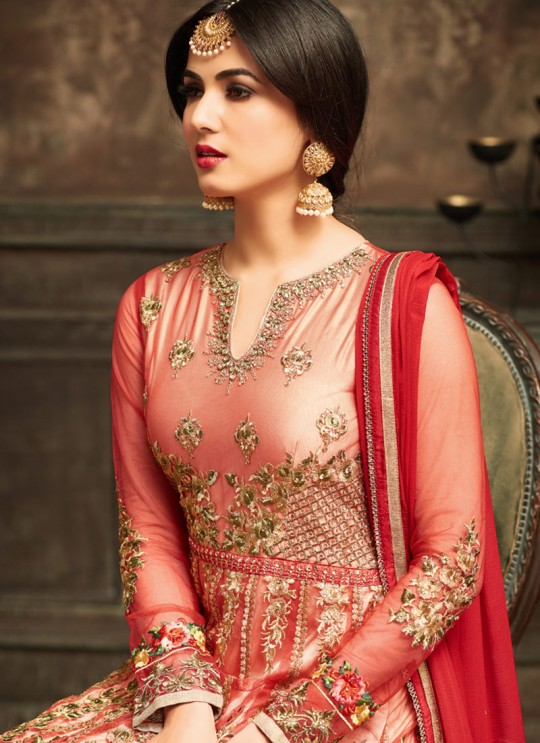 Red Net Jawariya 5105 Floor Length Anarkali By Maisha SC/006123