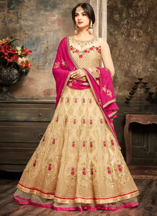 Cream Net Jawariya 5107 Floor Length Anarkali By Maisha SC/006125