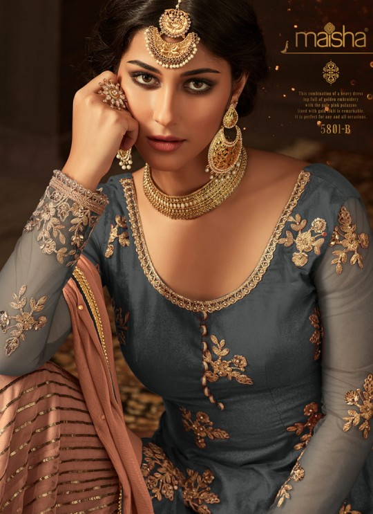 Ice Blue Net Aziza 5801B Color Sharara Suit By Maisha SC/011583