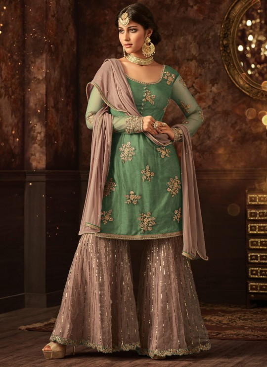 Green Net Aziza 5801C Color Sharara Suit By Maisha  SC/011584