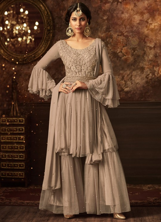 Grey Net Aziza 5803A Color Sharara Suit By Maisha SC/011571