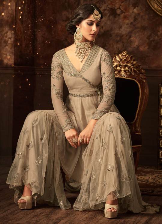Beige Net Aziza 5804 Sharara Suit By Maisha SC/011124