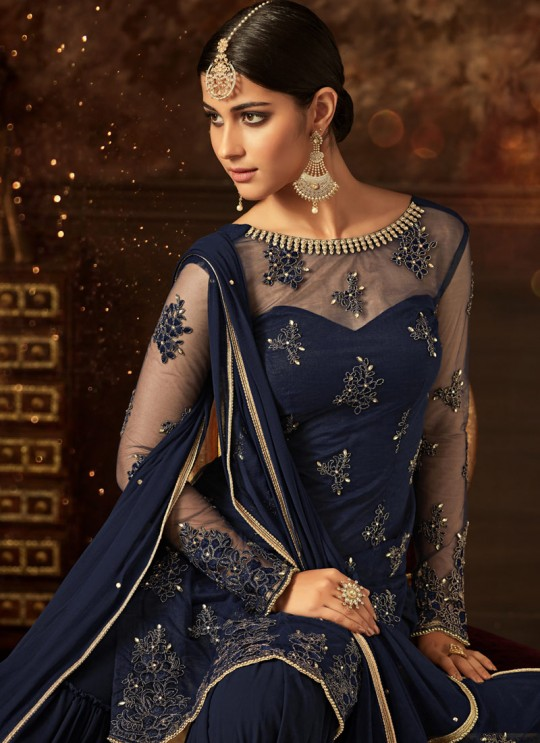 Blue Net Aziza 5805 Sharara Suit By Maisha SC/011125