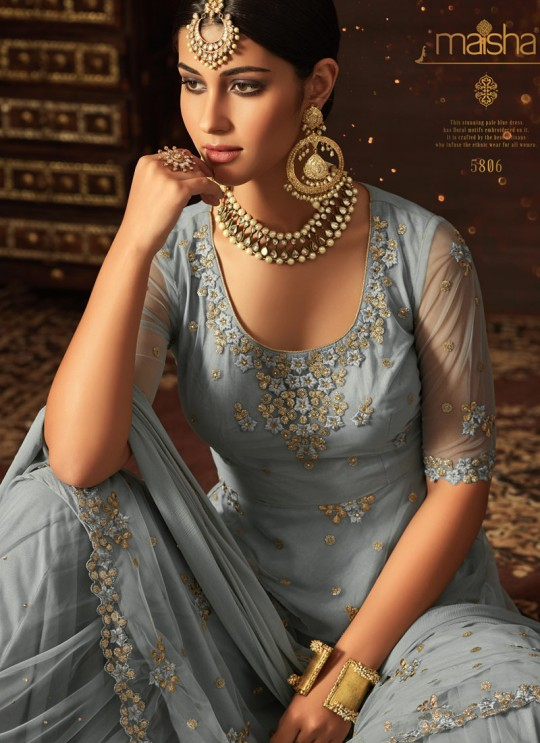 Ice Blue Net Aziza 5806 Sharara Suit By Maisha SC/011126
