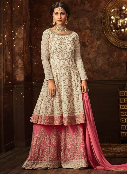 Cream Georgette Aziza 5807 Sharara Suit By Maisha SC/011127