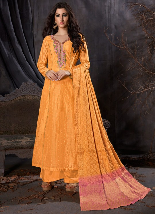 Yellow Silk MASKEEN 5901 Series 5903 Palazzo Suit By Maisha SC/012509