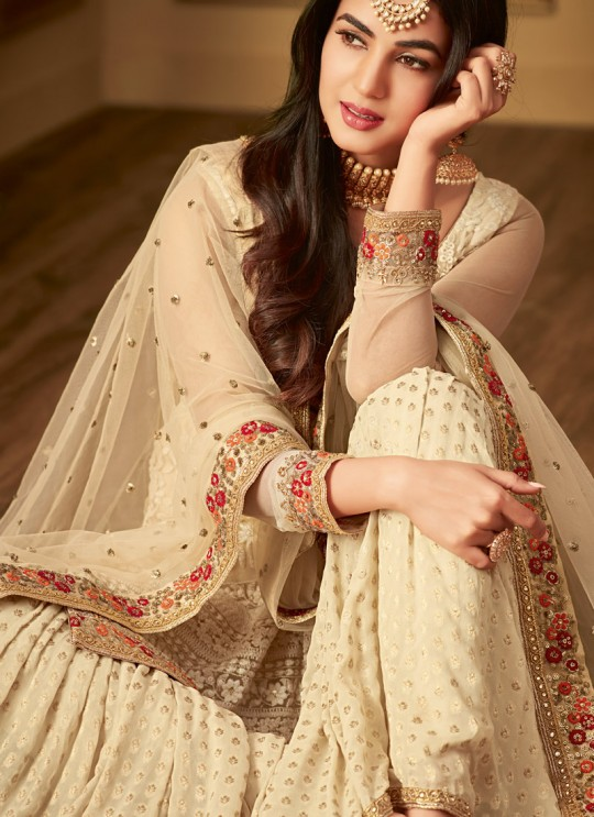 Cream Net Rumani 6402 By Maisha Sharara Suit SC/013256