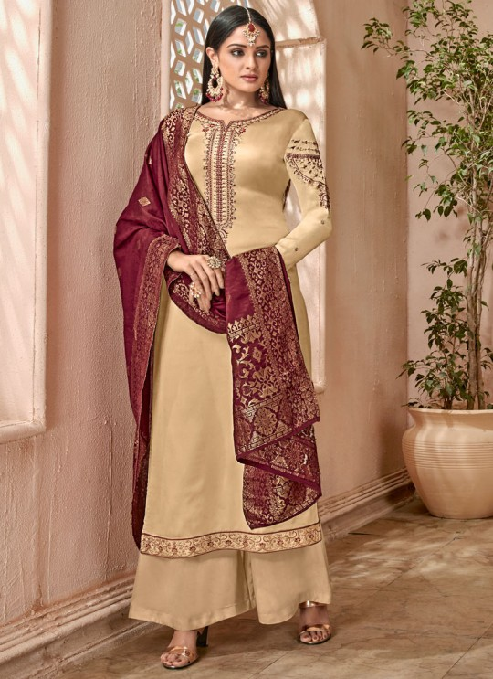 Beige Satin Georgette Maskeen Silk Vol 2 6501 By Maisha Palazzo Suit SC/012999