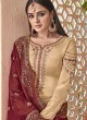 Beige Satin Georgette Maskeen Silk Vol 2 6501 Set By Maisha Palazzo Suit SC/012998