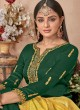 Green Satin Georgette Maskeen Silk Vol 2 6502 By Maisha Palazzo Suit SC/013000