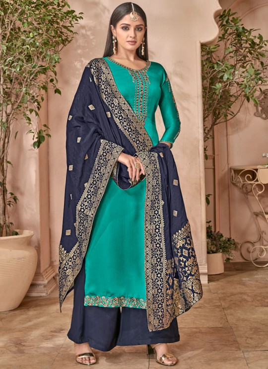 Teal Green Satin Georgette Maskeen Silk Vol 2 6503 Set By Maisha Palazzo Suit SC/012998