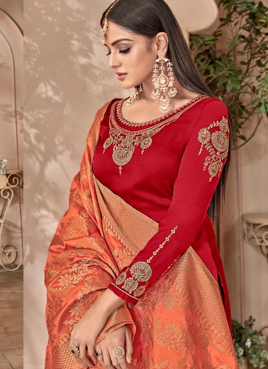 Red Satin Georgette Maskeen Silk Vol 2 6504 Set By Maisha Palazzo Suit SC/012998