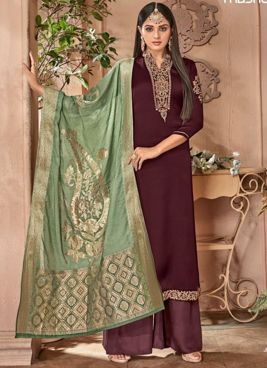 Wine Satin Georgette Maskeen Silk Vol 2 6505 Set By Maisha Palazzo Suit SC/012998